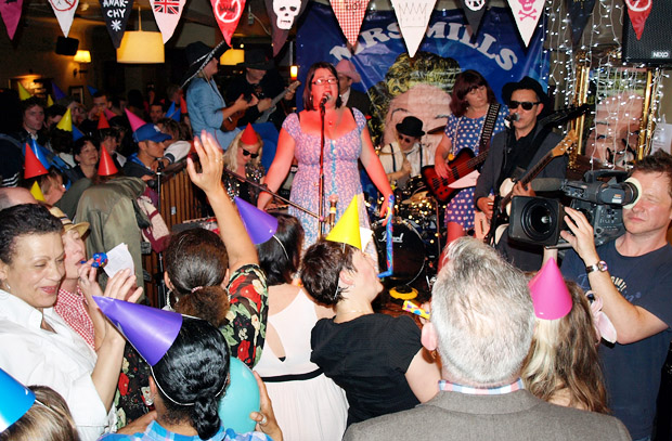 Mrs Mills Experience being filmed by the BBC at the Brixton Offline Club, Prince Albert Coldharbour Lane, London SW9, Friday 13th July 2012