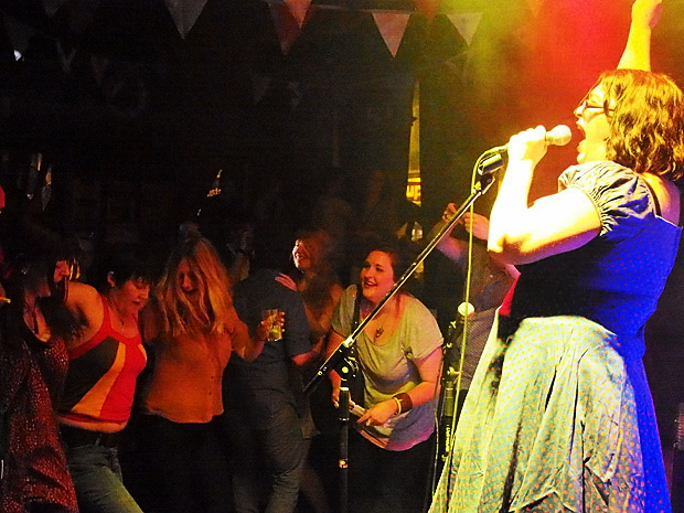 Music hall mayhem on the dancefloor with The Mrs Mills Experience at the Brixton Dogstar, London SW9, 30th June 2012